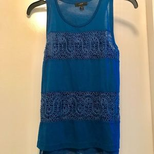 J. Crew cobalt lace panel tank top